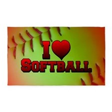 Optic Yellow I Love Softball 3'x5' Area Rug