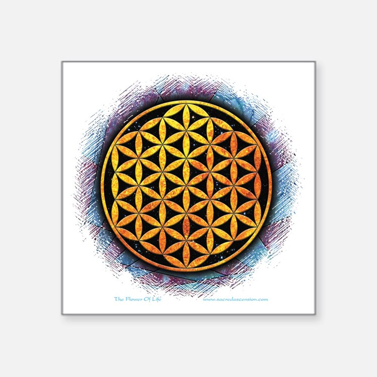"Flower Of Life 2 Square Sticker 3"" x 3"""
