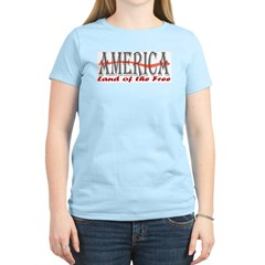 Land of the Free Patriotic Women's Pink T-Shirt