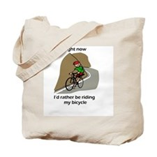 right now riding bicycle Tote Bag