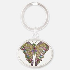 Colorful_butterfly_73_iPhone 4_Slide Oval Keychain