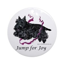 Jump for Joy Scottie Ornament (Round)
