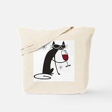 wine-cat-no text Tote Bag