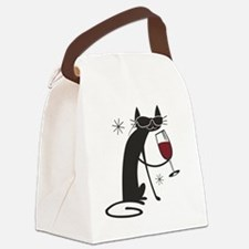 wine-cat-no text Canvas Lunch Bag