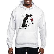 wine-cat-no text Hoodie