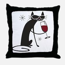 wine-cat-no text Throw Pillow