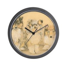 Collie Puppies Wall Clock
