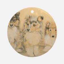 Collie Puppies Round Ornament