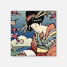 """Geisha Coaster Square Sticker 3"""" x 3"""""""