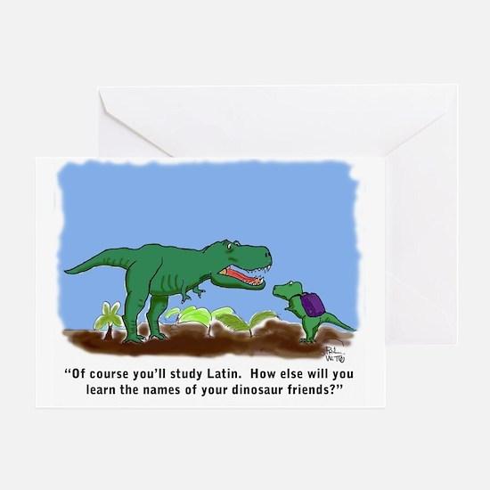 T-Rex learns Latin. Greeting Card