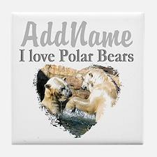 LOVE POLAR BEARS Tile Coaster