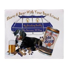 Bernese Mt. Dog Share A Beer by Fris Throw Blanket