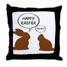HappyEasterWhat Throw Pillow