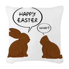 HappyEasterWhat Woven Throw Pillow