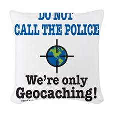 Geocach-white Woven Throw Pillow