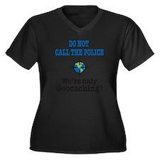 Geocach-whit Women's Plus Size Dark V-Neck T-Shirt