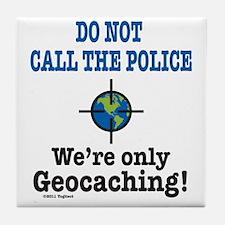 Geocach-white Tile Coaster