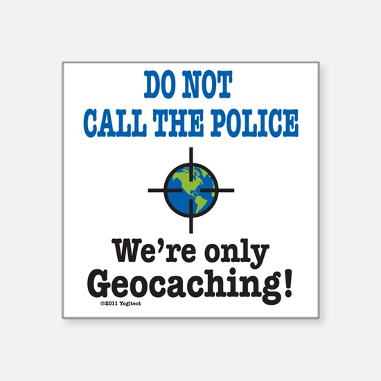"Geocach-white Square Sticker 3"" x 3"""