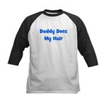 Daddy Does My Hair - Blue Kids Baseball Jersey