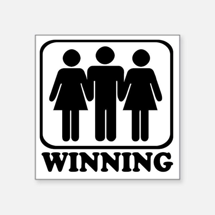 "Winning 3some Square Sticker 3"" x 3"""