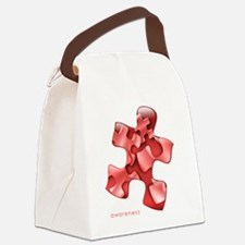 puzzle-v2-red-onblk2 Canvas Lunch Bag