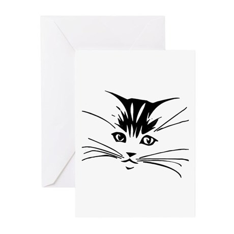 Black Cat Face Greeting Cards (Pk of 10)