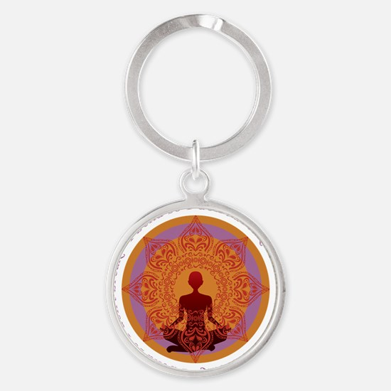 bendYogaREV1out Round Keychain