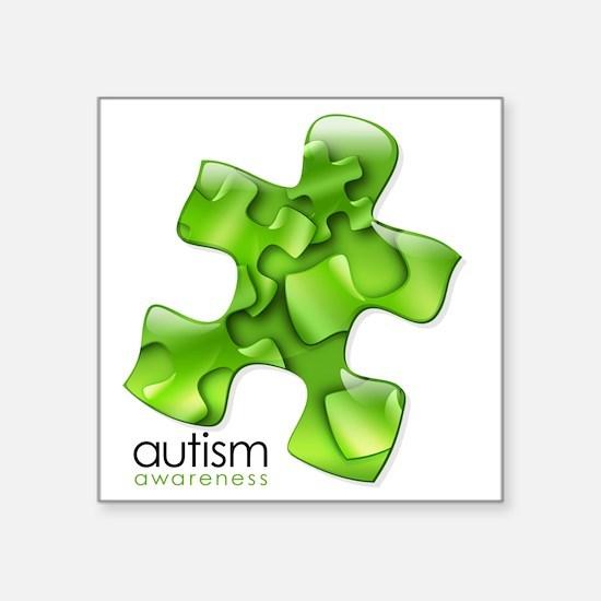 """puzzle-v2-green Square Sticker 3"""" x 3"""""""