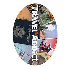 TravelAddictPoster Oval Ornament