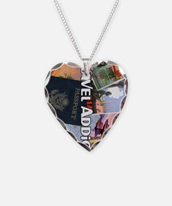 TravelAddictPoster Necklace Heart Charm