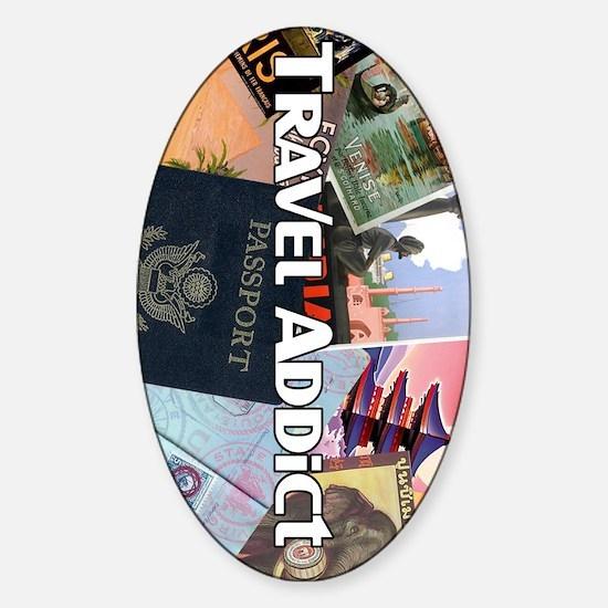 TravelAddictPoster Sticker (Oval)