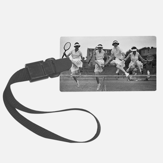 Women with Tennis Rackets Luggage Tag