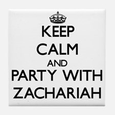 Keep Calm and Party with Zachariah Tile Coaster