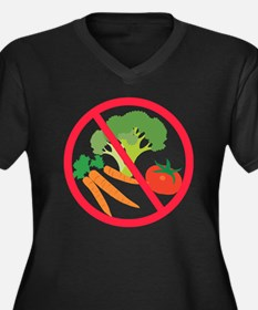 No Veggies Women's Plus Size Dark V-Neck T-Shirt