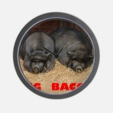 Pot_Bellied_Pigs_Big_Bacon_10by10 Wall Clock