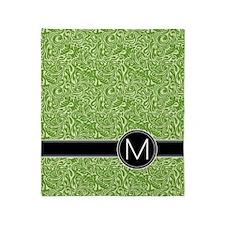 459_ipad_case_monogram_green_M Throw Blanket
