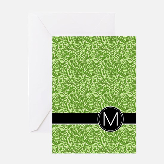 459_ipad_case_monogram_green_M Greeting Card