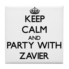 Keep Calm and Party with Zavier Tile Coaster