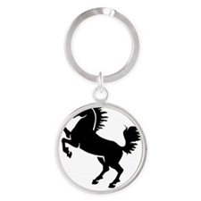Horse Black Round Keychain