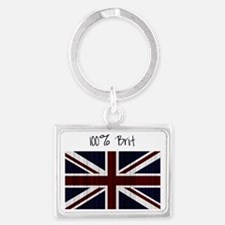 100 percent brit large flag Landscape Keychain