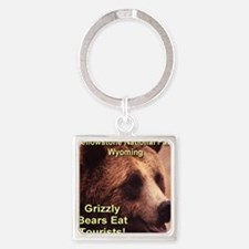 grizzly_bears_eat_tourists Square Keychain