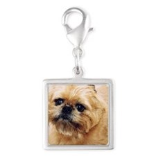 Brussels Griffon Silver Square Charm