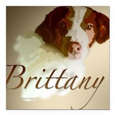 """Brittany Background Square Car Magnet 3"""" x 3"""""""