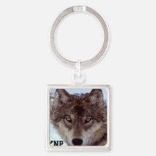 wolf_YNP_wyoming Square Keychain