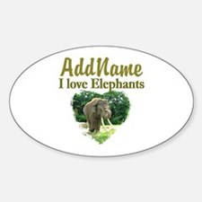 LOVE ELEPHANTS Sticker (Oval)