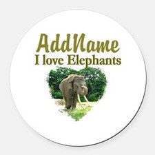 LOVE ELEPHANTS Round Car Magnet