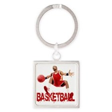 basketball_dribble_red Square Keychain