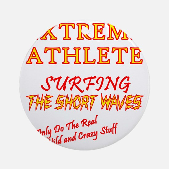 SURFING SHORT-WAVES Red Round Ornament