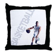 basketball_dribble_wht (2) Throw Pillow