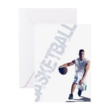 basketball_dribble_wht (2) Greeting Card